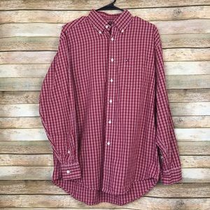 Tommy Hilfiger Red and White Button Down Shirt M